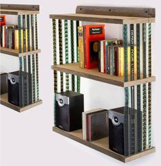 great bookshelf made with reused 35mm film strips