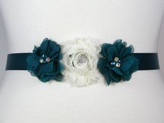 Check out this item in my Etsy shop https://www.etsy.com/listing/245453080/flower-girl-sash-bridesmaid-belt-teal