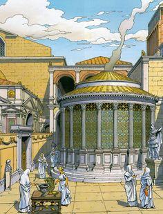 Il tempio di Vesta è un piccolo tempio rotondo (tholos) situato all'estremità orientale del Foro Romano a Roma, lungo la via Sacra accanto alla Regia ed alla Casa delle Vestali: insieme a quest'ultimo edificio costituiva un unico complesso religioso, con il nome di atrium Vestae.