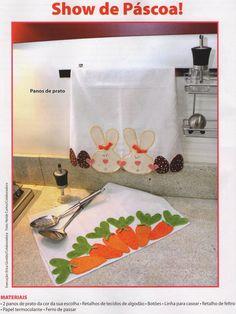 Moldes Para Artesanato em Tecido: Pano de prato de páscoa com molde
