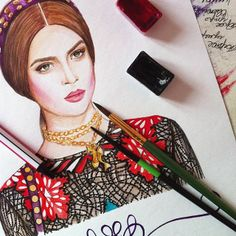 Fashion illustration, valentino look, love the colours