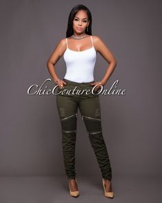 Chic Couture Online - Orma Olive Green Silver Zipper Luxe Pants.(http://www.chiccoutureonline.com/orma-olive-green-silver-zipper-luxe-pants/)