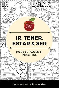 Engage your students with these ir, ser, estar and tener doodle notes for the beginner Spanish classroom. They also include tener expressions with emphasis on tener que and ir a infinitive notes and practice. Students can doodle or color the pages and com Spanish Notes, Spanish Basics, Spanish Phrases, Spanish Lessons, Learn Spanish, Spanish Grammar, Spanish Sayings, French Lessons, Learn French