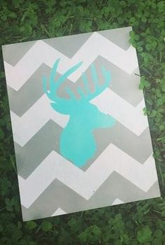 Chevron Deer Silhouette Sign in Blue by CountryCottageGC on Etsy