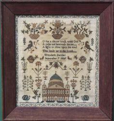 ANTIQUE NEEDLEWORK SAMPLER by ELIZABETH DAVIS 1835 St Pauls CATHEDRAL