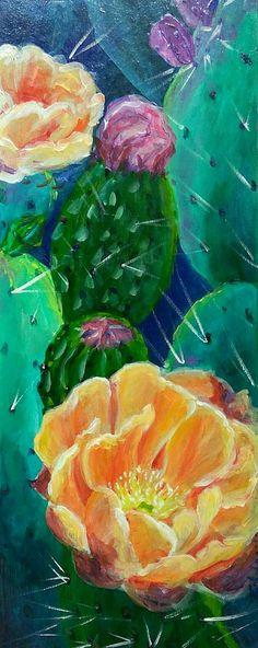 Opuntia flower 2 original acrylic painting cactus painting