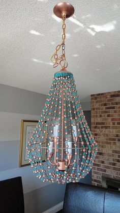 turquoise and cooper beaded chandelier