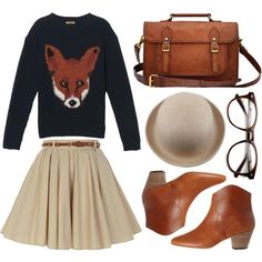 Fox sweater by hanaglatison on Polyvore