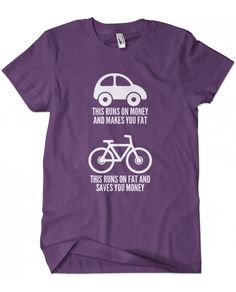 Evoke Apparel - Car vs Bike Graphic Tee, $25.00 (http://www.evokeapparelcompany.com/car-vs-bike-graphic-tee/)  This bicycle vs car graphic tee tells you and others to get your ass out of the car and on your bike....your body and the environment will thank you.