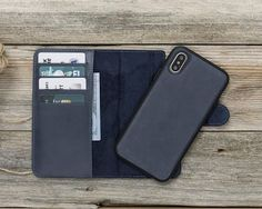 iPhone X Detachable Wallet Case - Snap-on Case (3 Case in 1), iPhone 10 Leather Case, Perfect for 3+ Cards and Cash in Genuine leather Wallet Case handmade Wallet case of high quality materials %100 Genuine leather blue leather iPhone X Wallet Case, Detachable iPhone X Case There are