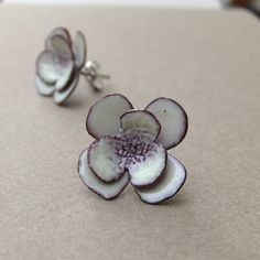 White Flowers -- glass enamel earrings