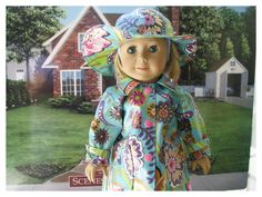 American Girl Doll 18 Inch Rain Slicker, Rain Coat, Forties Historical Pattern by BonJeanCreations on Etsy