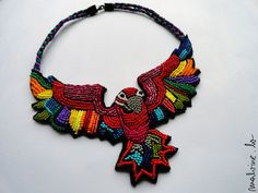 """Colorful Caribbean parrot necklace """"The Dream of a Red Macaw"""""""
