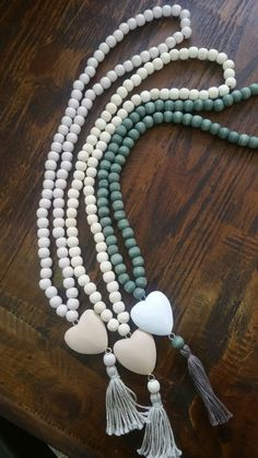 Woodbeads with love heart tassel necklaces..handmade
