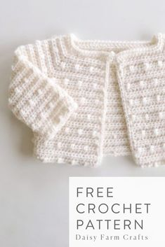 Free Crochet Pattern – Scattered Dots Baby Sweater – Crochet Pattern and ideas Crochet Baby Jacket, Crochet Baby Sweaters, Crochet Cardigan Pattern, Crochet Baby Clothes, Baby Knitting, Knitted Baby, Free Knitting, Crochet Baby Outfits, Crochet Baby Stuff