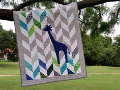 Baby Quilt Giraffe Quilt Herringbone Baby Quilt by MyScrapQuilts