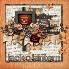 #papercraft #scrapbook #layout Jack-O-Lantern