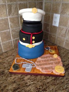 USMC Cake created for a retiring US Marine. choc and vanilla cakes with chocolate fudge filling. The hat is made from RKT Marine Cake, Chocolate Fudge, Usmc, Vanilla Cake, Fondant, Hat, Cakes, Home Decor, Chip Hat