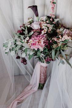 Blush and Burgundy Garden Wedding in Italy Wedding Brooch Bouquets, White Wedding Bouquets, Burgundy Wedding, Bridesmaid Bouquet, Wedding Flowers, Mod Wedding, Italy Wedding, Enchanted Garden Wedding, Calla Lily Bouquet