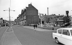 Darbys' Garage, Nos. and shops beyond, Infirmary Road Old Gas Pumps, Ford Anglia, Oil Service, Gas Station, Garages, Sheffield, Buses, Yorkshire, 1960s