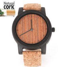 Natural Cork watch bamboo face with wooden unisex Vegan Quartz Casual Wrist handmade watch Wa-62