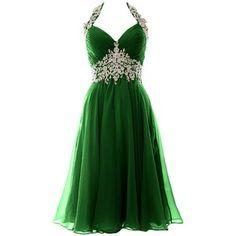 MACloth Women Halter Lace Chiffon Short Prom Dress Formal Evening Ball Gown