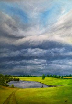 Stormy landscape - Le Dorat, France.  Acrylic on canvas - 70 x 50 cm