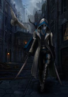 f Rogue Assassin Leather Armor Cloak Mask Dual Longswords Poison female urban City street lg Dark Fantasy, Fantasy Armor, Fantasy Women, Fantasy Character Design, Character Design Inspiration, Character Concept, Character Art, Dnd Characters, Fantasy Characters