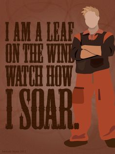 """I'm a leaf on the wind, watch how I soar."""