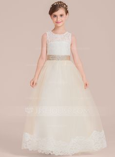 Ball-Gown Scoop Neck Floor-Length Tulle Junior Bridesmaid Dress With Sash  Beading (009130521). Satin TulleTulle LaceCheap Flower Girl DressesFlower  ... 56f59f12e5ab