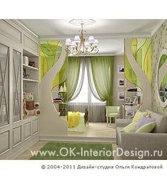 Дизайн интерьера детской комнаты в бежевых и салатовых оттенках. 3D - http://www.ok-interiordesign.ru/ph_dizain-detskoy-komnaty.php
