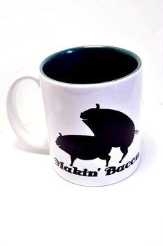Makin Bacon coffee mug with Pigs  Making Bacon Funny by Mugsleys, $10.00