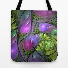 Good Mood, abstract Fractal ARt Tote Bag by Gabiw Art | Society6 - printed Tote Bag with the colorful Design in green, pink and lilac on both Sides.
