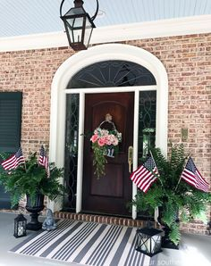 Love the porch ceiling color! e Southern Patriotic Porch with simple ideas to show your pride! Southern Front Porches, Small Front Porches, Farmhouse Front Porches, Front Porch Design, Southern Homes, Country Porches, Porch Designs, Funky Painted Furniture, Painted Chairs
