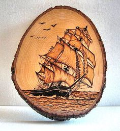 Pyrography Clipper Ship by on Etsy Wood Burning Stencils, Wood Burning Crafts, Wood Burning Patterns, Wood Burning Art, Wood Crafts, Woodworking Workshop Layout, Wooden Art, Environmental Art, Polymer Clay Art