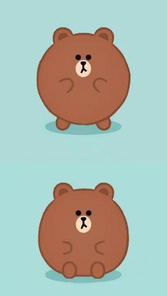 Line Brown Bear, Brown Line, Cony Brown, Brown Wallpaper, Line Friends, Cellphone Wallpaper, Cute Cards, Love Gifts, Cute Designs