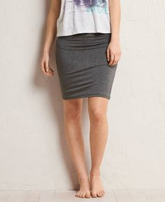 Aerie Ruched Skirt, Women's, Iron Heather