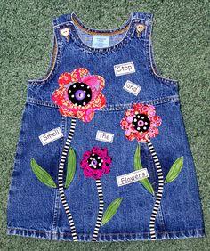 Adventures in Fiber: Recycled denim Sewing For Kids, Baby Sewing, Toddler Dress, Baby Dress, Denim Ideas, Recycled Denim, Little Girl Dresses, Vintage Denim, Diy Clothes
