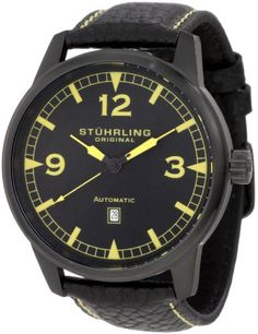 Stuhrling Original Mens 129XL335565 Aviator Tuskegee Warhawk Automatic Date Black Watch -- You can find out more details at the link of the image.