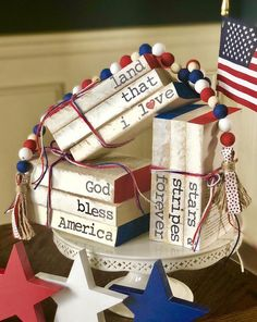 Farmhouse stamped books/patriotic book stack and bead bundle/patriotic stamped books/patriotic tiered tray/tiered tray decor Fourth Of July Decor, 4th Of July Decorations, July 4th, Holiday Decorations, Seasonal Decor, Wood Bead Garland, Beaded Garland, Independance Day, Patriotic Crafts