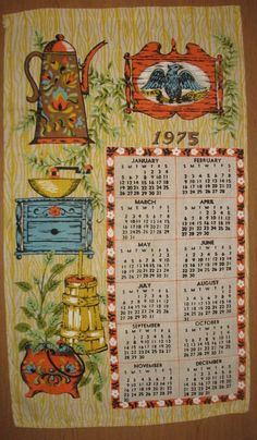Vintage Calendar Dish Tea Towel 1975 Country Kitchen 1970s