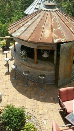 Grain bin re-purposed into an outdoor kitchen/bar