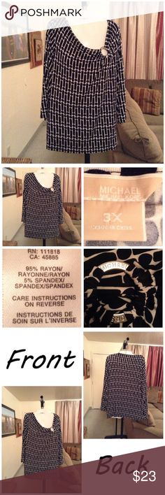 """Michael Kors Top Made of 95% Rayon and 5% spandex. Size 3X. Colors are black and white.  Arm Length """"19.5. Laying flat """"26. Length """"27.5. This Item is not new, It is used and in EUC. Item is Authentic & from a Smoke/Pet Free home. All measurements are approximate and are done flat. Please use the Offer button. I will NOT negotiate prices in the comment section. Thank You✨😀 Michael Kors Tops"""