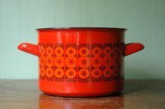 Finel Enamel Pot Kaj Franck  Danish Modern Daisy Pot by JunkHouse, $48.00