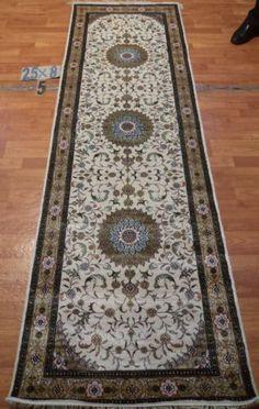"2'6""x8' Runner Hand-knotted 200 kpsi Silk Oriental Persian Tabriz Rug 9435"