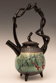 Basket-handled Teapot with Red Berries