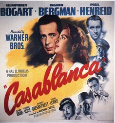 It's 70 years since the release of the original film, Casablanca, the famous romantic drama starring Humphrey Bogart and Ingrid Bergman. Old Movie Posters, Classic Movie Posters, Cinema Posters, Movie Poster Art, Poster S, Classic Films, Vintage Posters, Art Posters, Timeless Classic