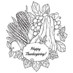 Coloring page to color in October with berries, vegetables and various fruits…