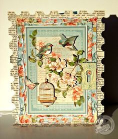 This is a gorgeous Secret Garden card by @Tara Orr! Love her use of color and the newsprint! #graphic45 #cards