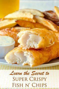 Super Crispy Fish and Chips – learn the secret to crispy batter! Super Crispy Fish and Chips. After years of experimenting I've perfected my homemade version of fish and chips that uses part rice flour in the batter recipe for guaranteed crunch. Cod Fish Recipes, Fried Fish Recipes, Rock Recipes, Salmon Recipes, Seafood Recipes, Cooking Recipes, Pan Fried Haddock Recipes, Fried Mushroom Recipes, Flounder Recipes